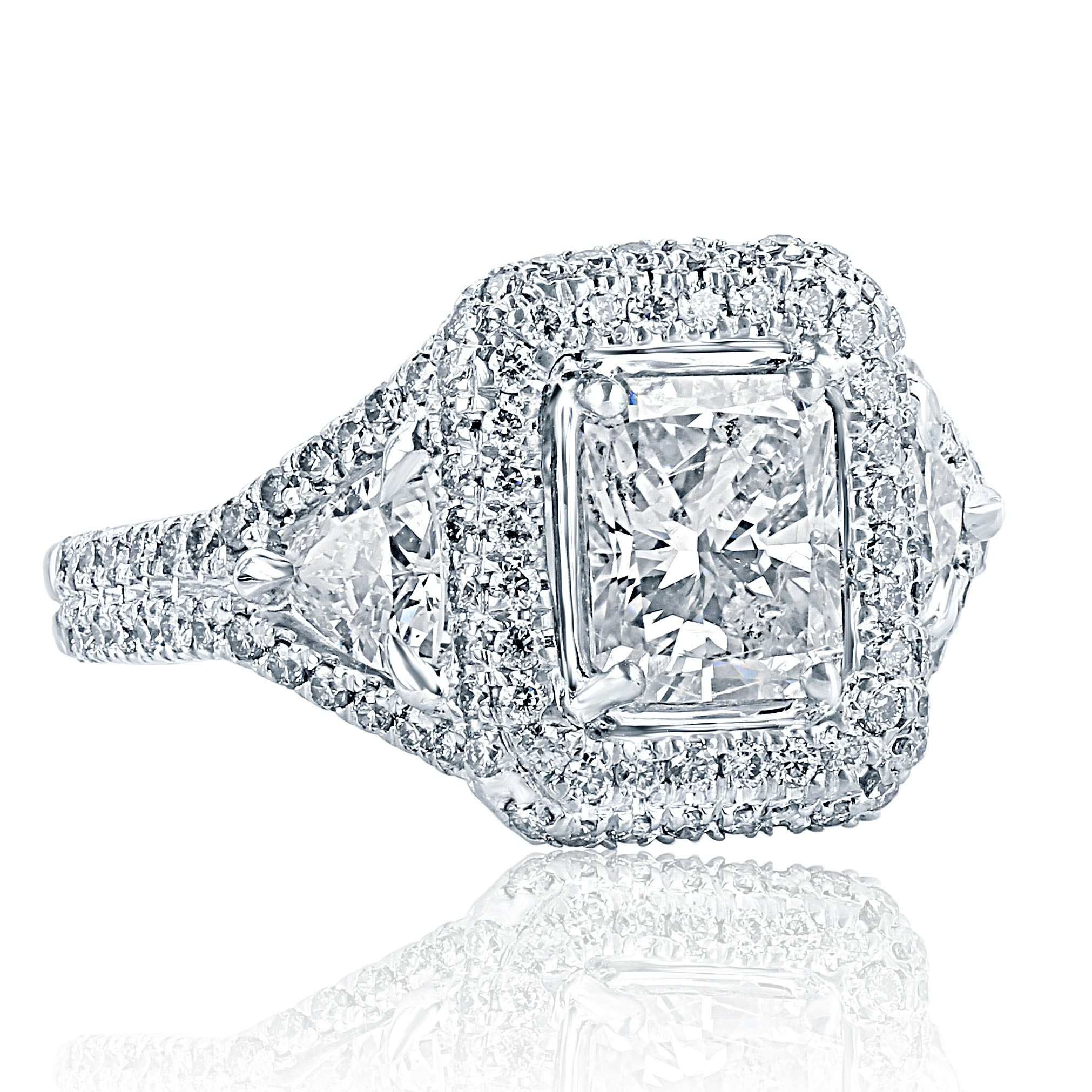 platinum estate in rings ct trillion with engagement earrings princess cut ring tw diamonds diamond