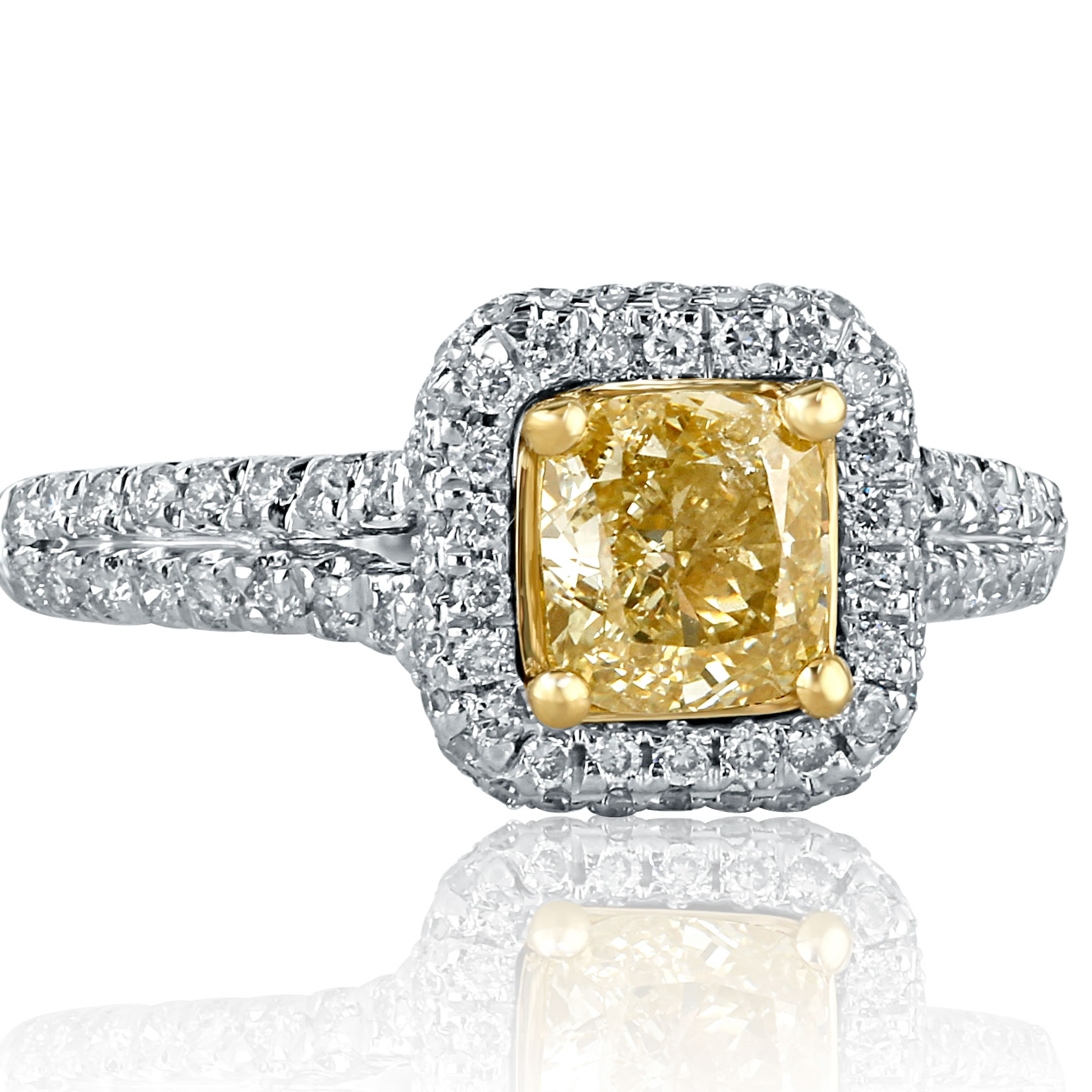 Details About 1 57 Ct Natural Cushion Cut Yellow Diamond Engagement Ring Halo 18k White Gold