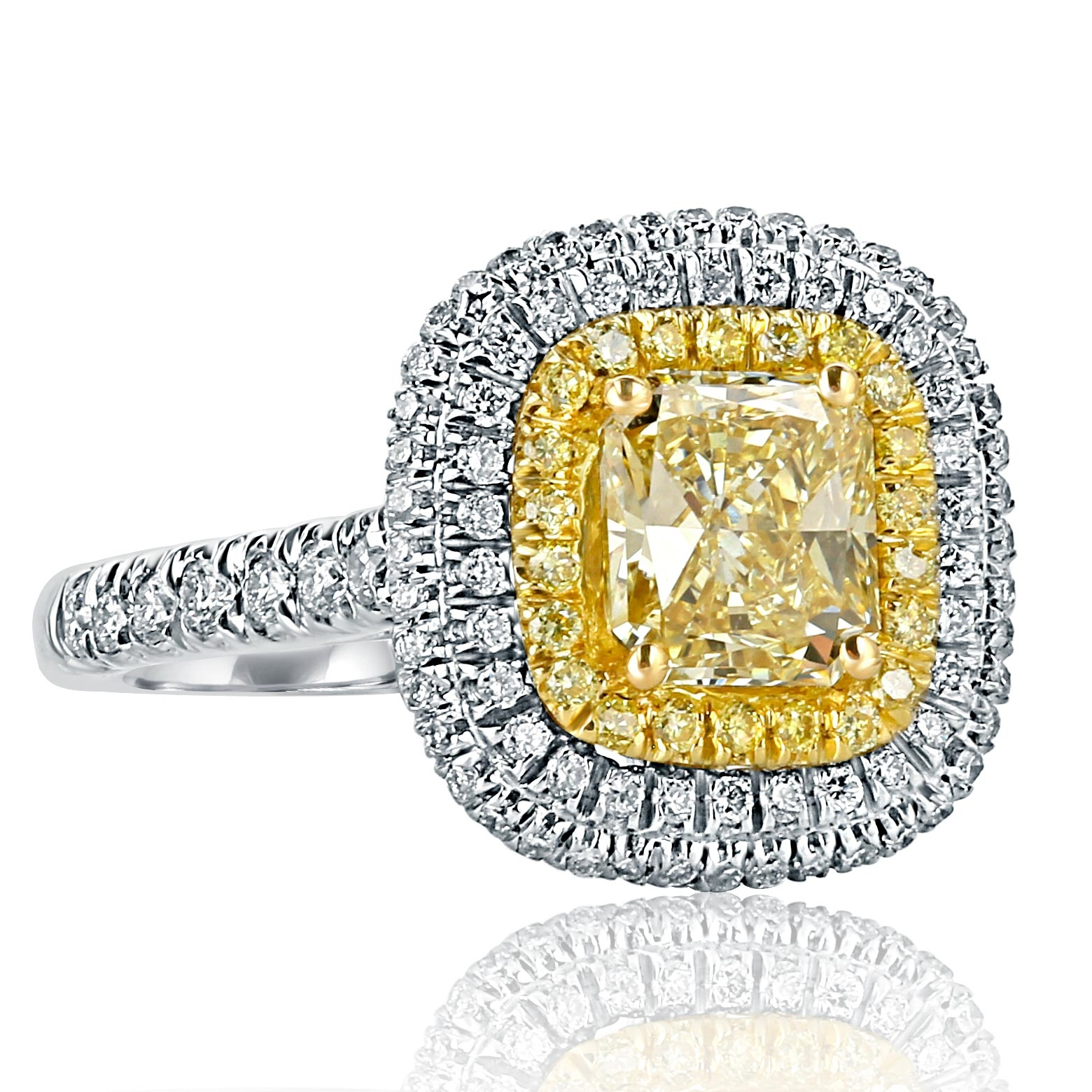 aa8ed8938a0a5 Radiant Cut Triple Halo Yellow 2.28 Ct Diamond Engagement Ring 18k ...