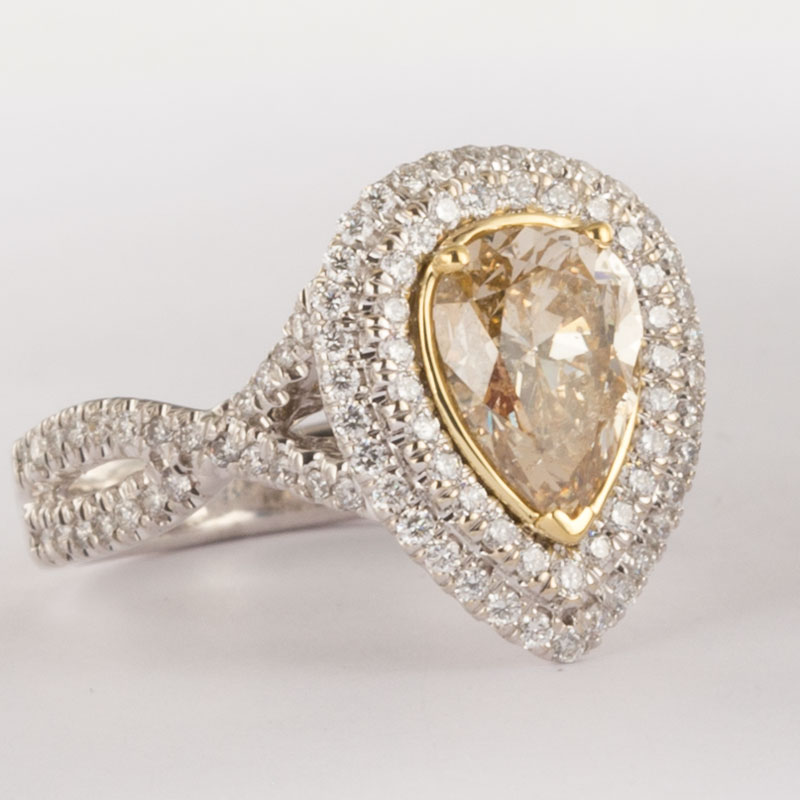 2 54ct yellow pear shaped halo engagement ring