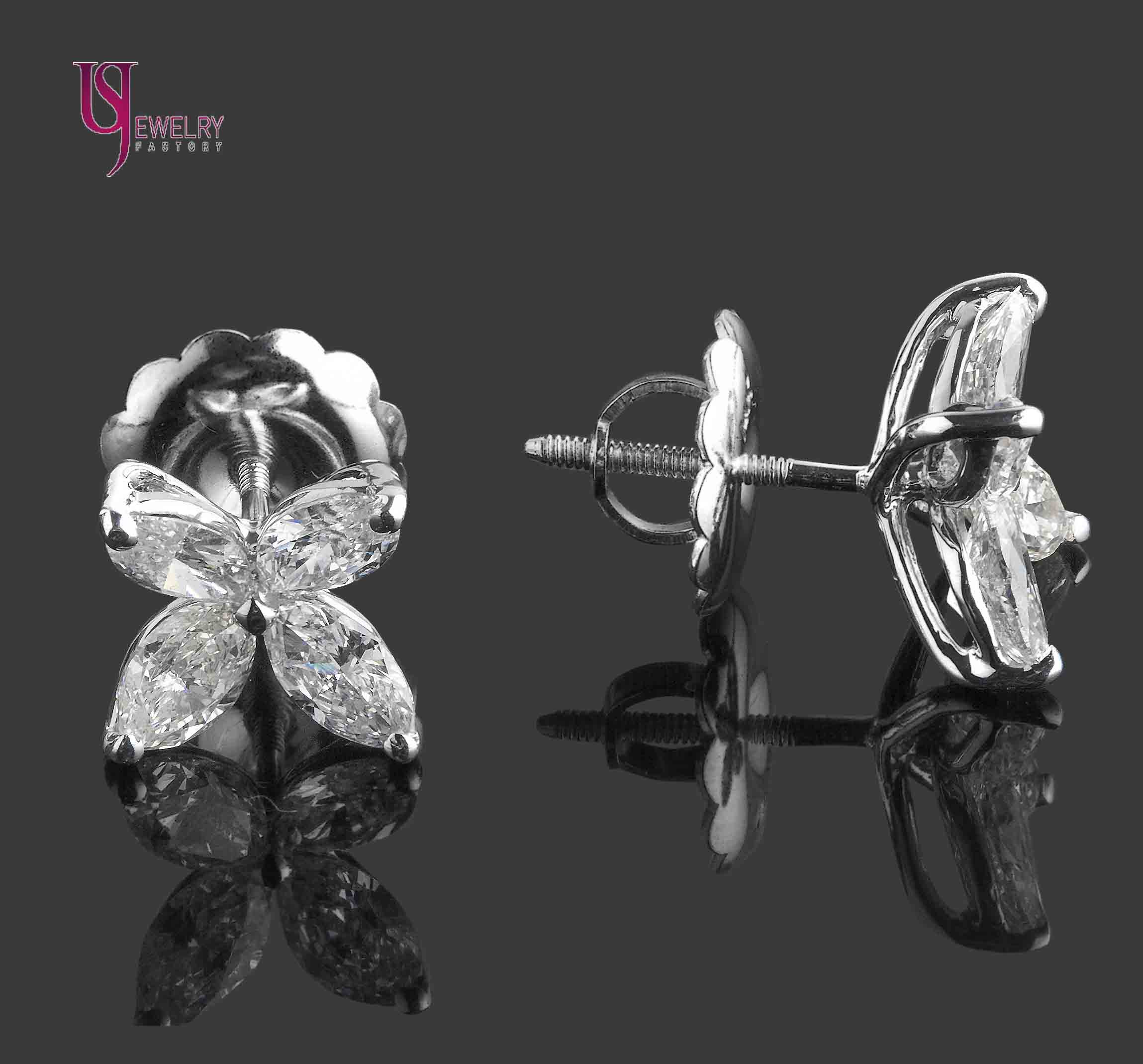 floral logo stud de carat diamond white cut gold itm marquise earrings studs screw backs