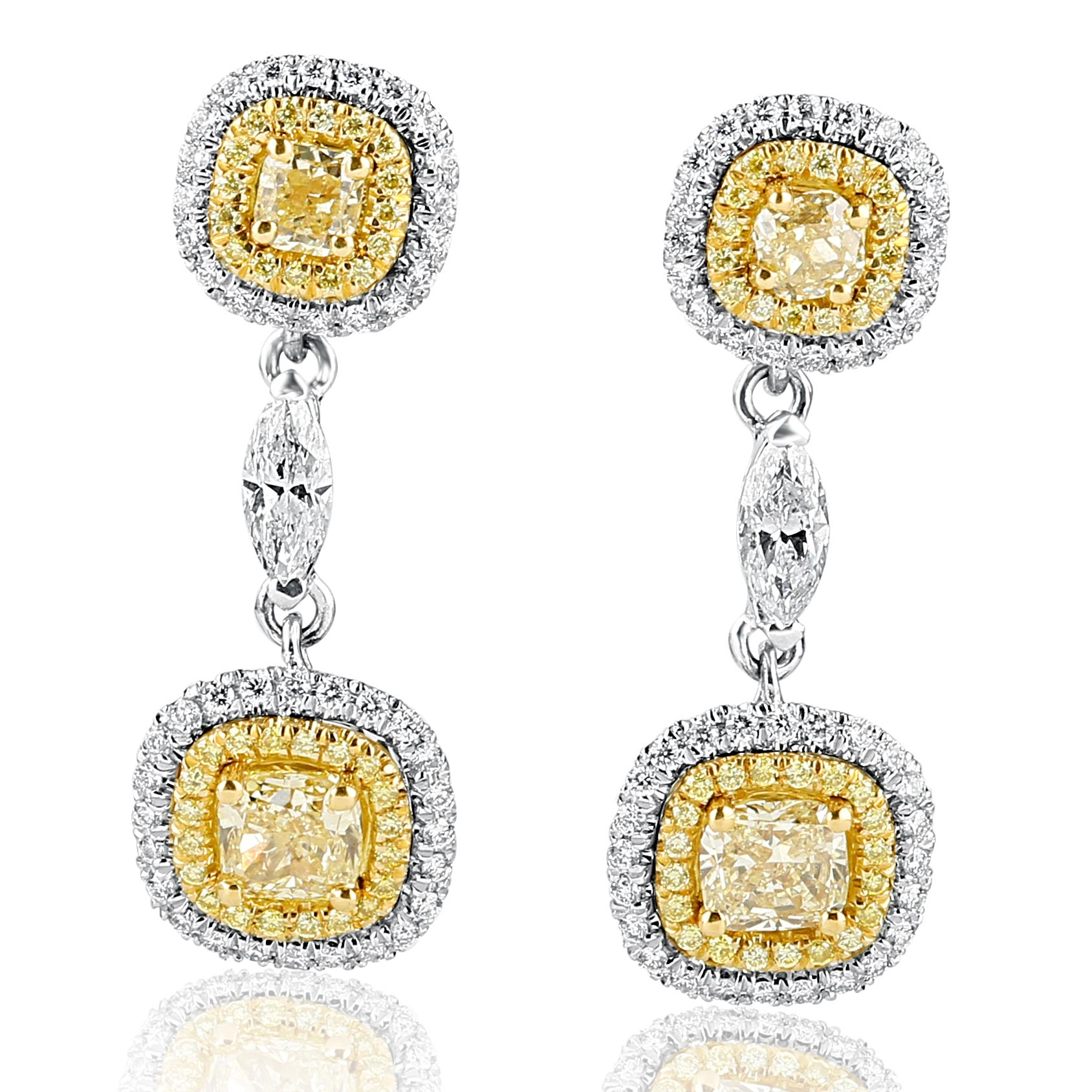 yellow cut earrings canary diamond light mark cushion halo fancy watch broumand stud