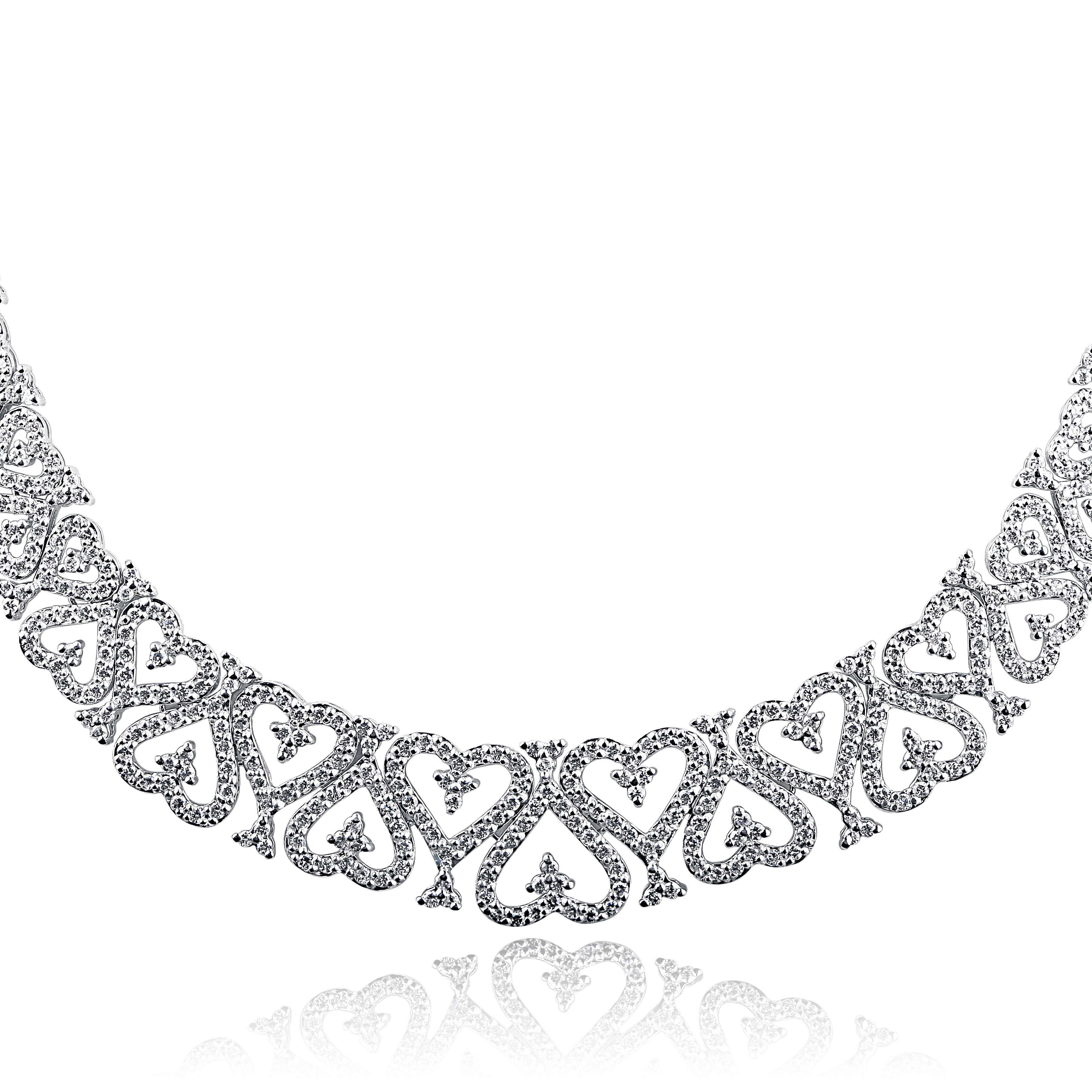 f7b988d27be31 Details about 4 Carat Genuine Diamond Necklace Graduated Heart Link 14k  White Gold Women's 17
