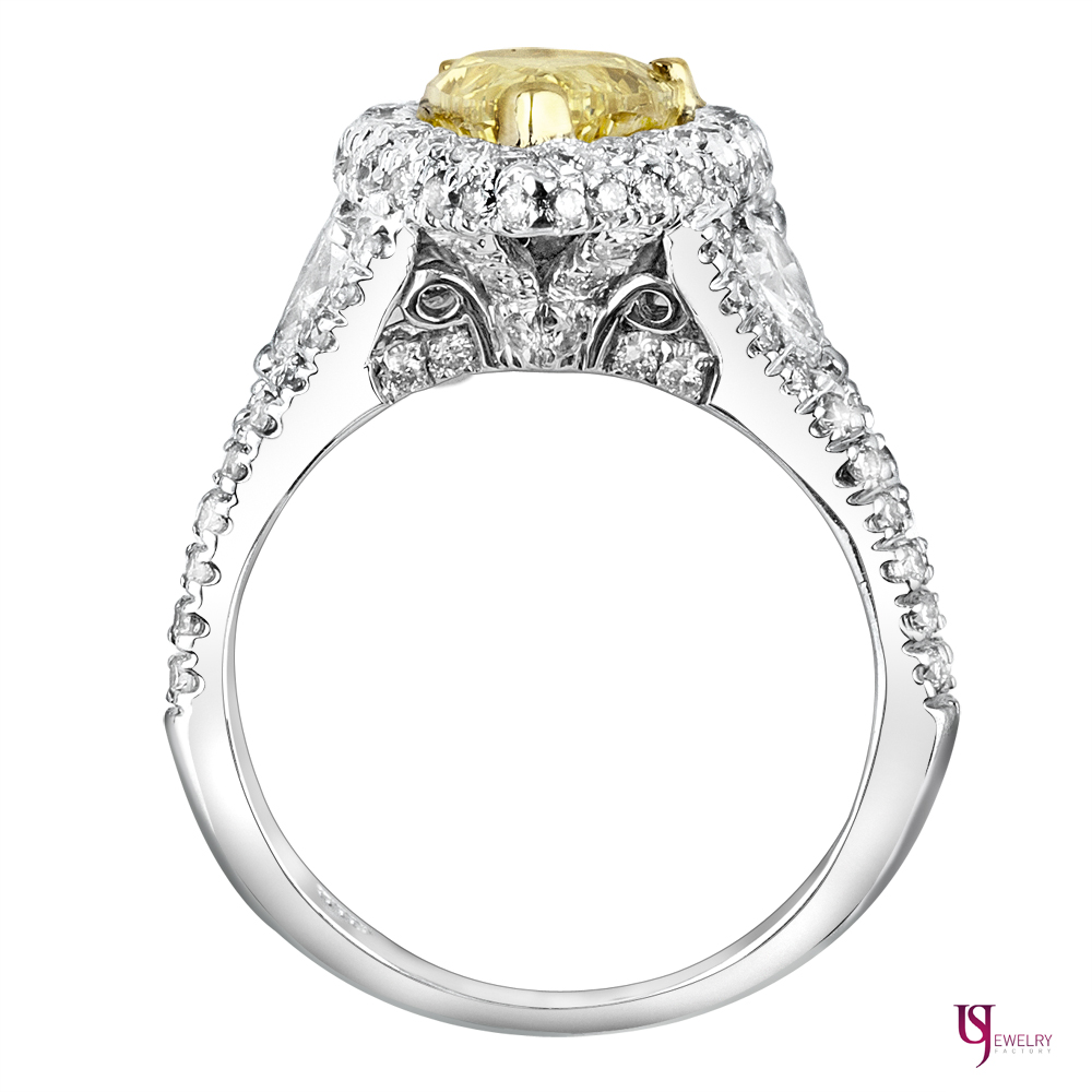 3 51 Carat Pear Shaped Fancy Yellow Halo Diamond Engagement Ring 18k White Go
