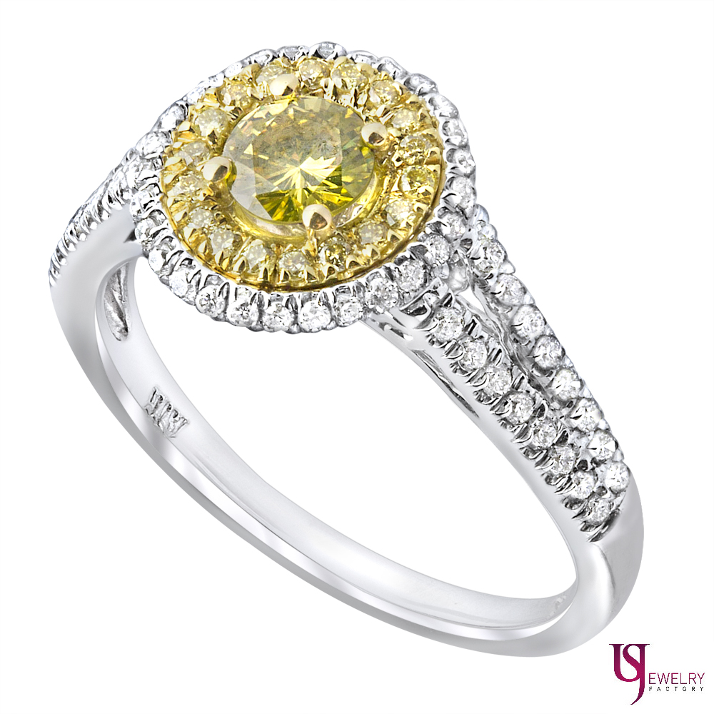 round natural fancy canary yellow diamond halo. Black Bedroom Furniture Sets. Home Design Ideas