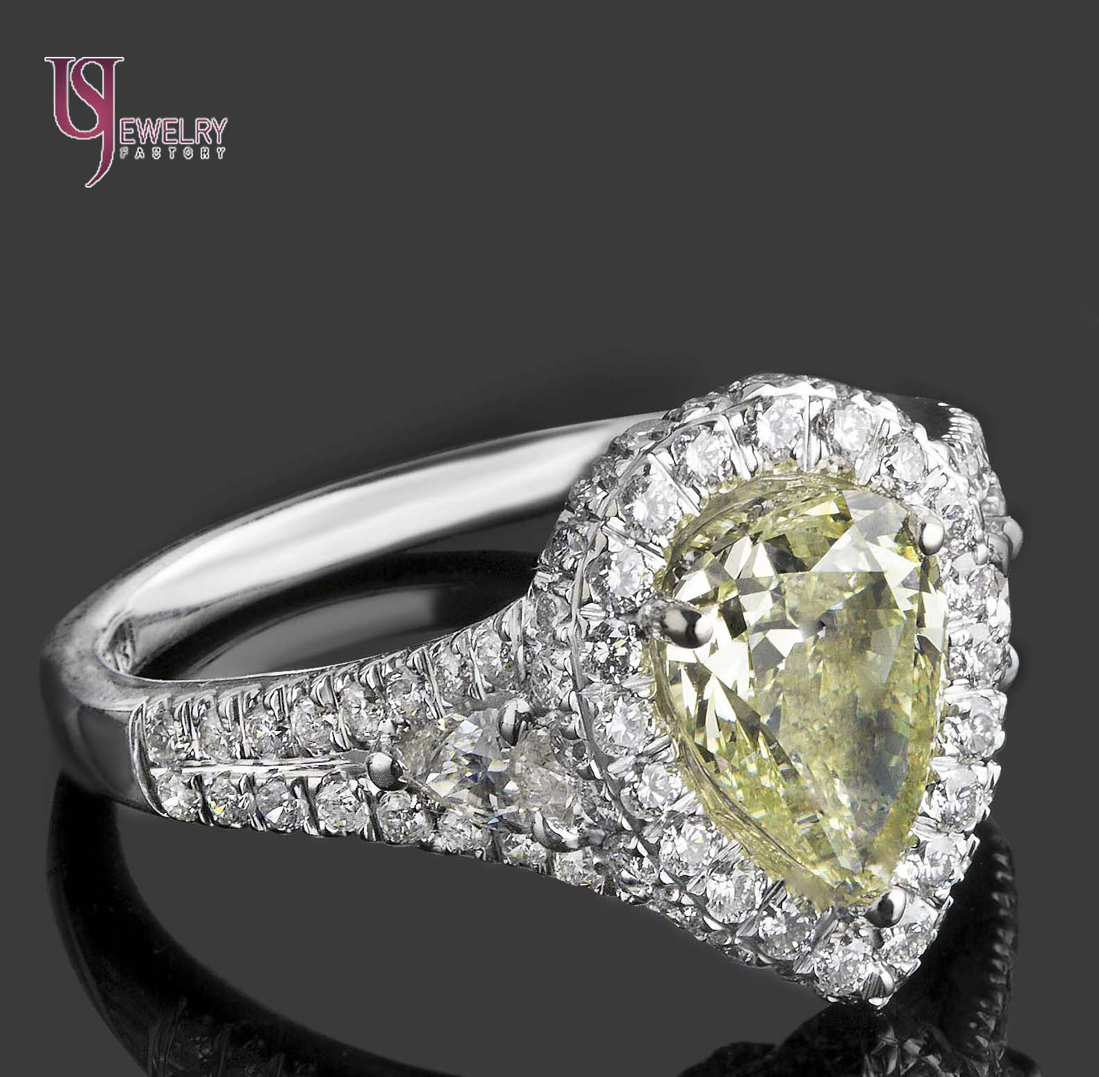 2 62ct Natural Lime Yellow Pear Shaped Halo Set Diamond Engagement Ring 18K G
