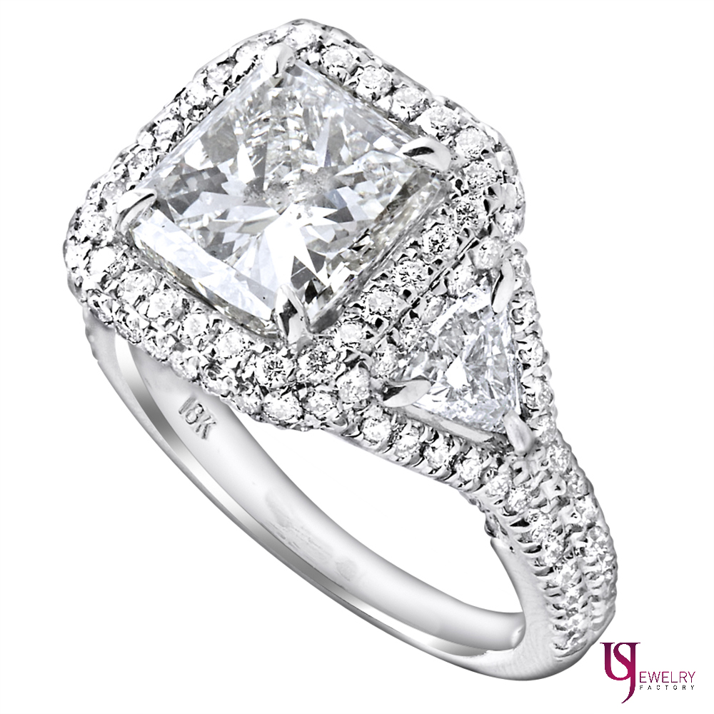 4.96 Carat Halo Radiant Cut Trillion Diamond Engagement
