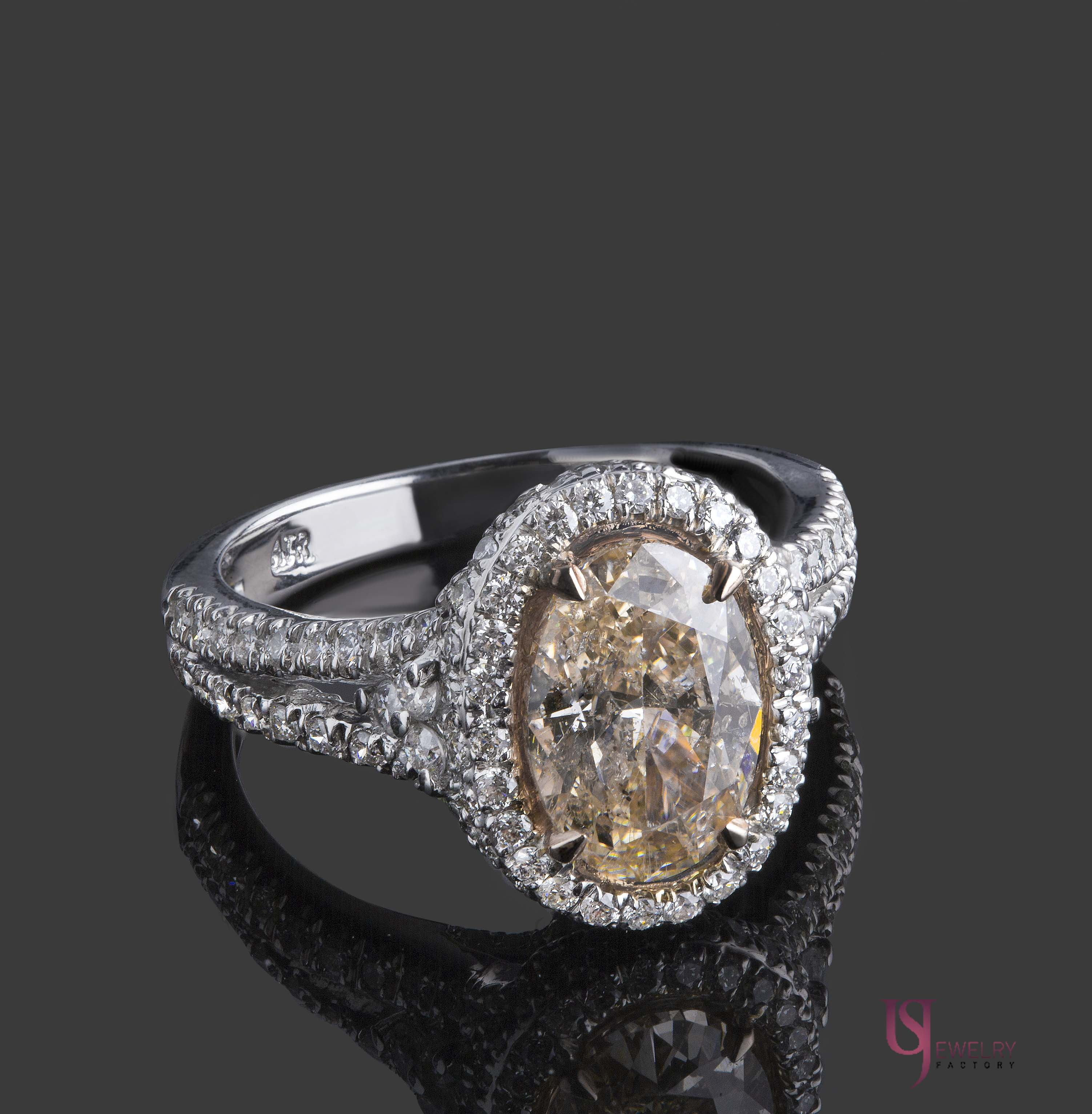 3 21 Carat Oval Fancy Light Brownish Pink Diamond Engagement Ring 18k White G