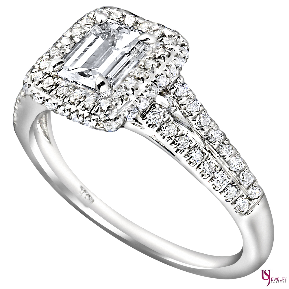 Emerald cut diamond engagement ring carat f vs2 split for 26 carat diamond ring