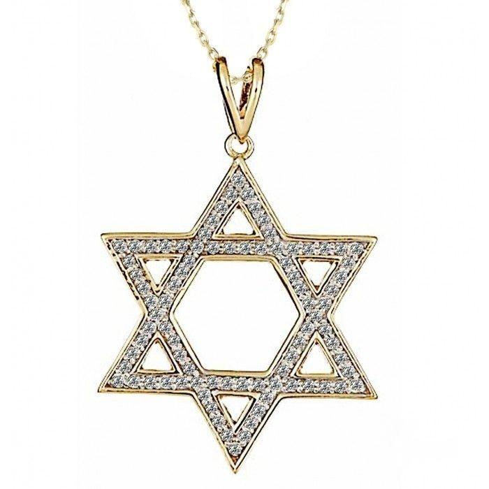 Jewish Star Of David Diamond Pendant Necklace 16 14k Yellow Gold 3 4 Tcw Usjewelryfactory Com