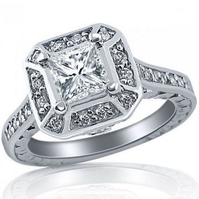 Vintage 1 31 Ct Princess Cut Diamond Engagement Ring 14k White Gold Usjewelryfactory Com