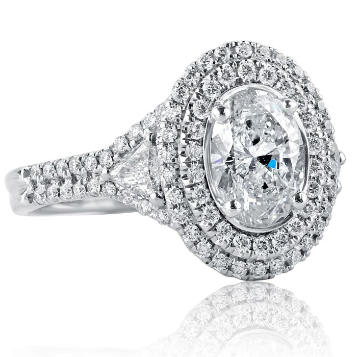 Details about  /2.80 Ct Oval Cut Diamond Solitaire Engagement Ring 14k White Gold Over Size K-T