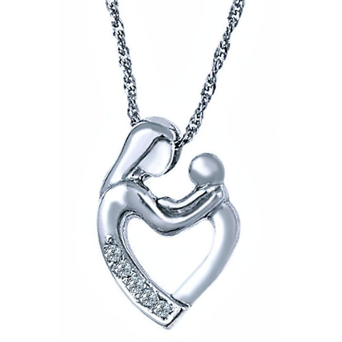 """Diamond Mother Child Heart Pendant Necklace 18/"""" 10k White Gold Loving Family"""