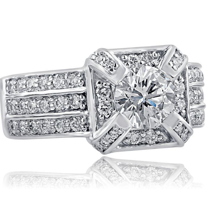 2 83 Tcw Round Cut Diamond Vintage Engagement Ring 14k White Gold Usjewelryfactory Com