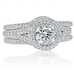 Details about  /1.24 Tcw Swirl Bypass Shank Round Cut Engagement Rings in White Gold for women